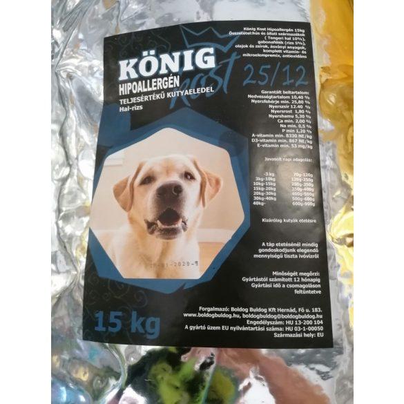 KÖNIG hipoallergén száraz kutyaeledel - hal+rizs 15kg