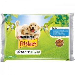 Friskies Dog Junior Csirke + Sárgarépa szószban Alutasakos kutyaeledel 4x100g
