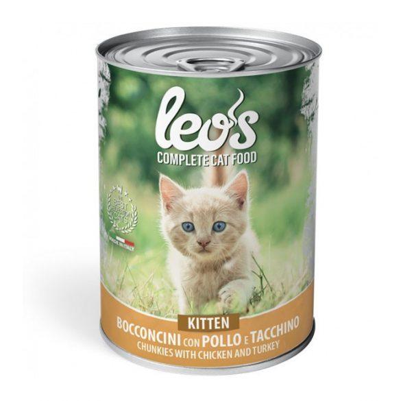 Leo's macskakonzerv 400g Kitten Csirke-Pulyka