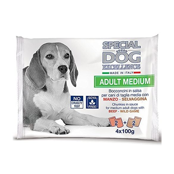 Special Dog Excellence Adult Médium Alutasak 4x100g Marhával, Vaddal Szószban