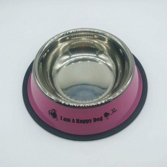 Etetőtál - rózsaszín oldalú, fém 22cm 600ml
