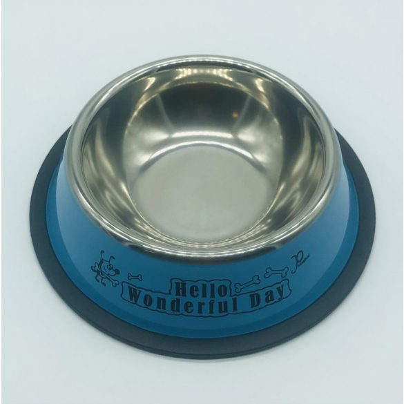 Etetőtál - kék oldalú, fém 18cm 300ml