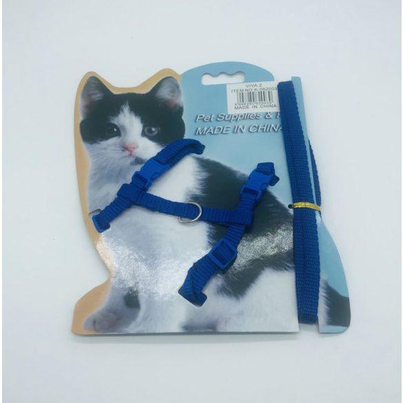Macskahám szett - nyak 20-32cm, mellméret 24-40cm, póráz 120cm - KÉK
