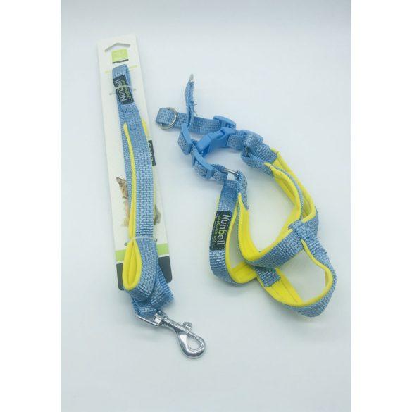 Kutyahám szett, neoprén béléssel - kb. 45-50cm körméret + 1,5x110cm póráz KÉK