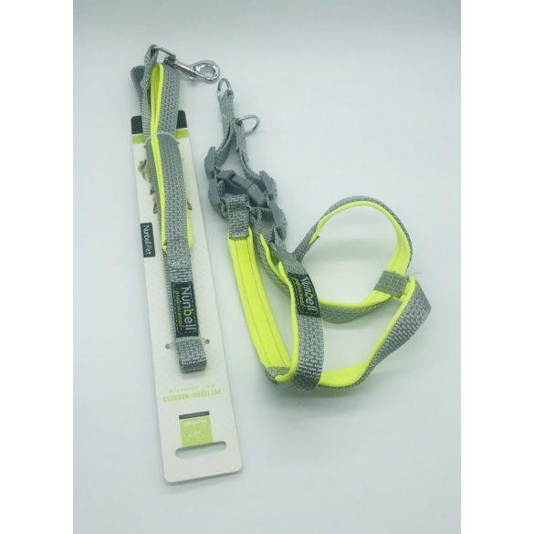 Kutyahám szett, neoprén béléssel - kb. 45-50cm körméret + 1,5x110cm póráz SZÜRKE