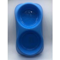 Dupla etetőtál - KÉK, műanyag, 34x18cm 2x500ml
