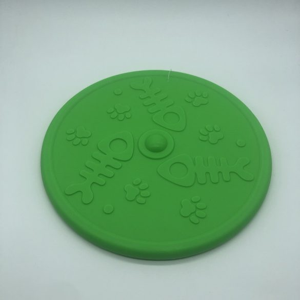 Frizbi 20cm - zöld, 3D tappancs és hal mintával