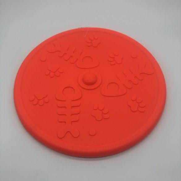 Frizbi 20cm - narancssárga, 3D tappancs és hal mintával