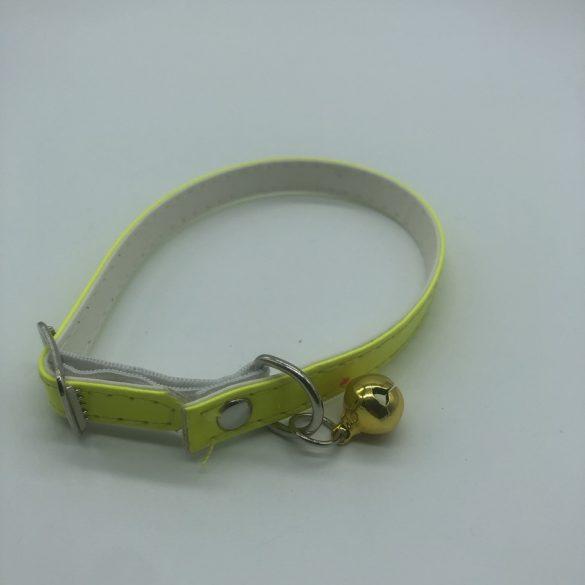 Macska nyakörv 1cm x 25cm - csengővel, szabadon állítható, citromsárga