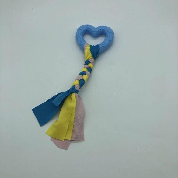Gumi kutyajáték szív 7,5cm - textil fonattal - kék