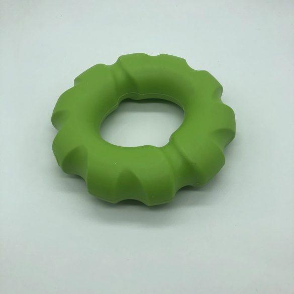 Gumi kutyajáték karika 14cm - sípolós - zöld