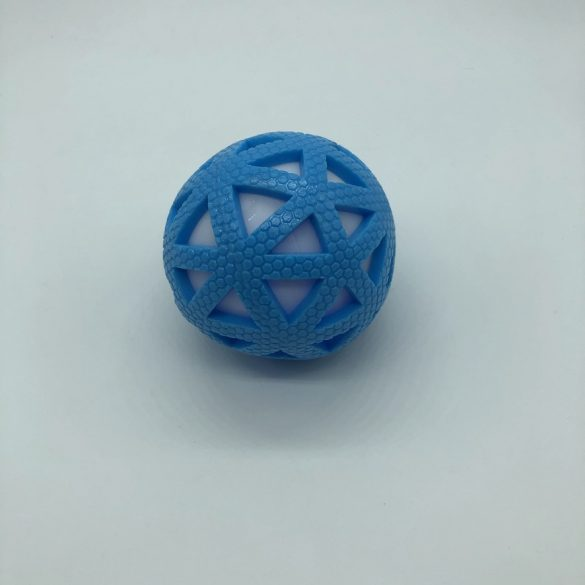 Gumilabda kutyajáték világítós-csörgős - kb 8cm - háromszög - kék