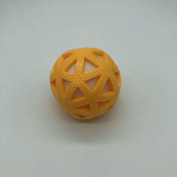 Gumilabda kutyajáték világítós-csörgős - kb 8cm - háromszög - sárga