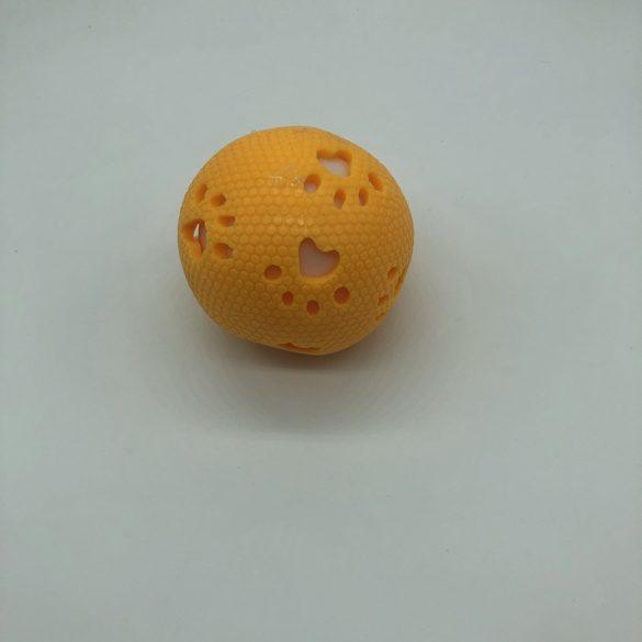 Gumilabda kutyajáték világítós-csörgős - kb 8cm - tappancs - sárga