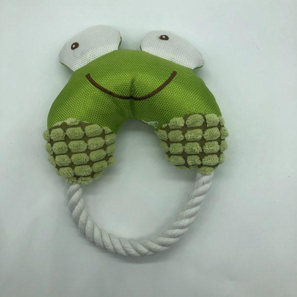 Textil kutyajáték - kötéllel - kör alakú - kb 18cm átmérő - zöld