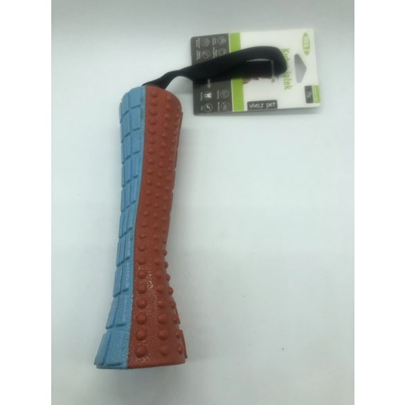 Rágóbot sípolós - 20cm - piros - kék