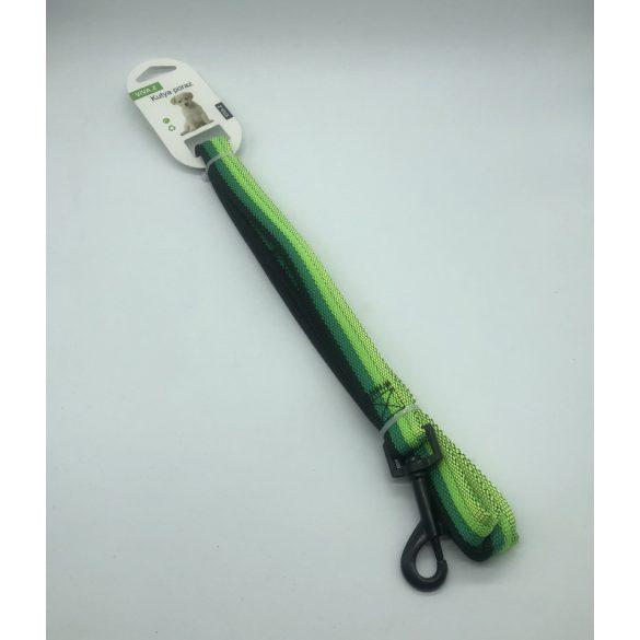 Póráz textil - fekete fém karabinerrel 1,5cm x 120cm ZÖLD