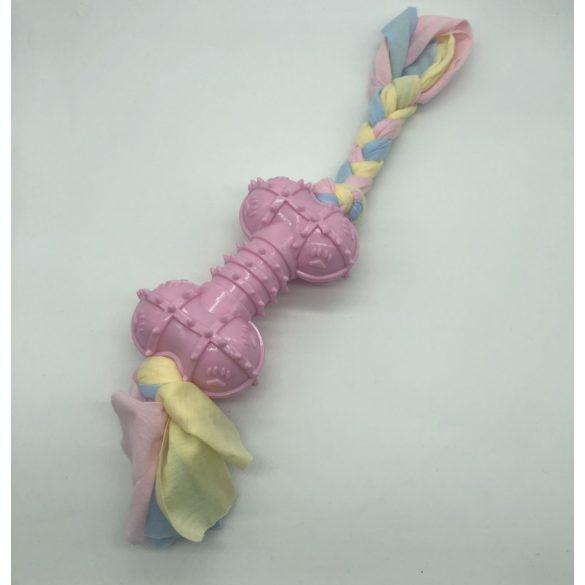 Gumicsont kutyajáték kötéllel kb 30cm - rózsaszín
