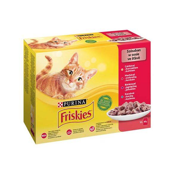 Friskies 12x85g Piros Csirke + Marha + Bárány + Kacsa Alutasak
