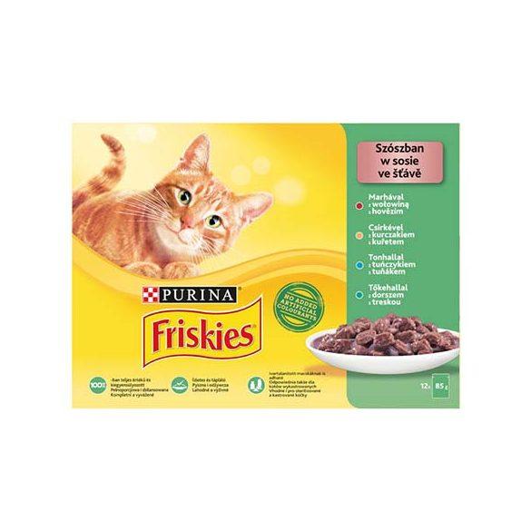 Friskies 12x85g Zöld Marha + Csirke + Tonhal + Tőkehal Alutasak