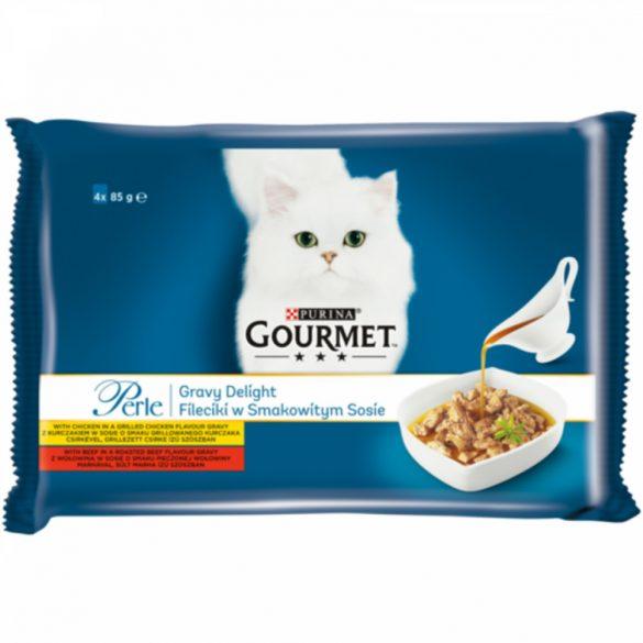 Gourmet Perle 4x85g Csirke + Marha  Szósz Alutasak